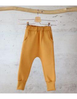 spodnie dresowe MUSZTARDOWY uszytek ROZMIARY OD 98-104 DO 134-140