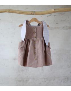 sukienka sztruksowa pudrowy królik z uszami 5-10 lat
