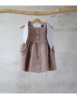 sukienka sztruksowa pudrowy królik z uszami rozmiary od 3 m-cy do 4 lat