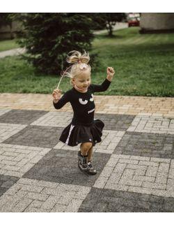 Rockowa czarna spódniczka dziewczęca z lampasem i napami Rock Kid