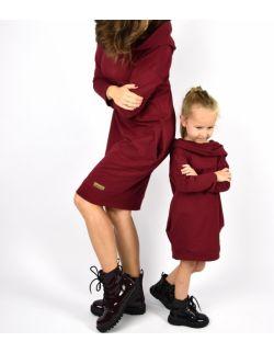 Komplet tunik dla mamy i córki - Burgund
