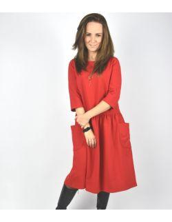 Sukienka damska z dużymi kieszeniami czerwona