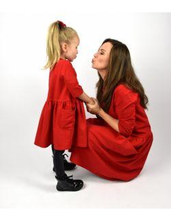 Sukienki dla mamy i córki czerwone