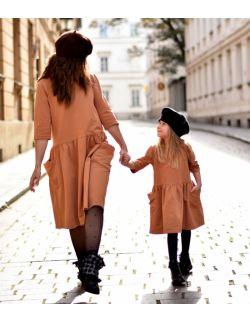 Sukienki dla mamy i córki z kieszeniami toffi
