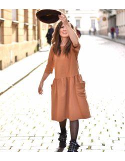 Sukienka damska z dużymi kieszeniami toffi