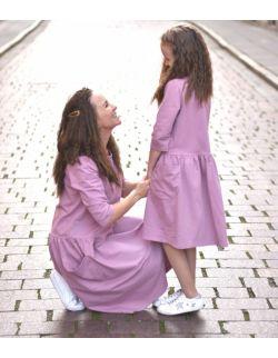sukienki dla mamy i córki z kieszeniami lilla róż