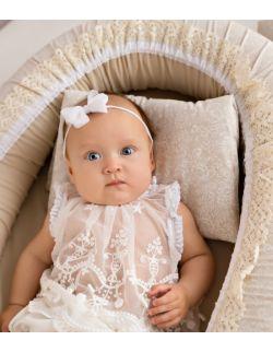 Kokon niemowlęcy kremowy z koronką