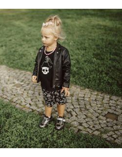 Rockowe czarne szorty dziecięce Skull Rose Pattern