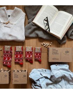 Zestaw 4 par skarpet świątecznych dla rodziców i dzieci