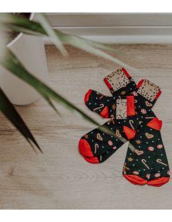 Zestaw 2 par skarpet świątecznych w pierniki dla rodzica i dziecka