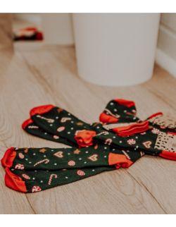 Zestaw 4 par skarpet świątecznych w pierniki dla rodziców i dzieci