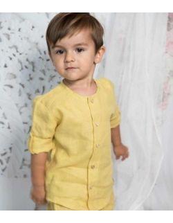 Mustard komplet chłopięcy elegancki stylowy lniany