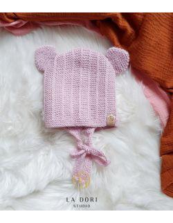 bear bonnet Jasny róż