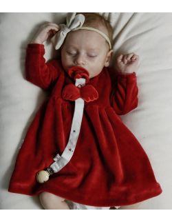 welurowa sukienka wings red