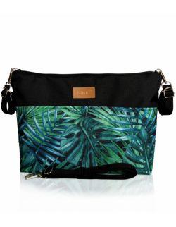 wodoodporny organizer do wózka NINKI® ( zielone liście palmowe - czarny )