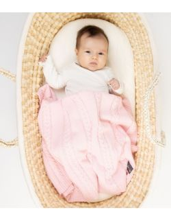 kocyk dziecięcy dziany pink,100% bawełna,90x65 cm