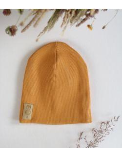 czapka musztardowy uszytek