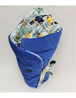 Bambusowy Rożek niemowlęcy 75x75 cm Tukanyi z velvet niebieski pikowany caro