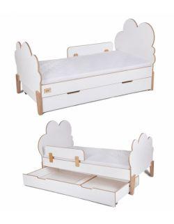 Łóżko dziecięce ze sklejki, białe Cloud 80x160 z barierką (opcjonalnie z szuflada i materacem)