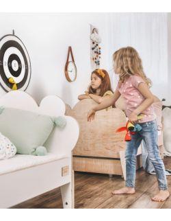 Łóżko dziecięce ze sklejki, białe Cloud 80x180 z barierką (opcjonalnie z szuflada i materacem)