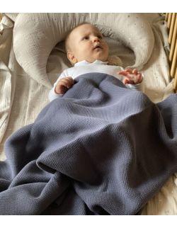 Kocyk bawełniany - szary 100% bawełna