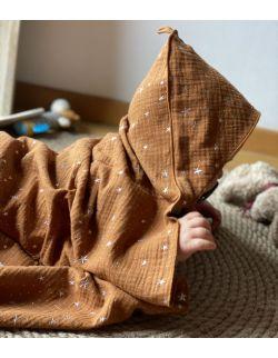 Ręcznik muślinowy- korzenny brąz gwiazdki