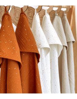 Ręcznik muślinowy- korzenny brąz kropki