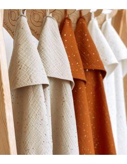 Ręcznik muślinowy - piaskowy kropki