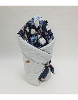 ROŻEK niemowlęcy 75x75 cm Granatowe kwiaty z Velvet szary pikowane korony