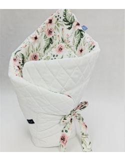 Bambusowy Rożek niemowlęcy 75x75 cm In Garden z Ultra soft velvet biały pikowany caro