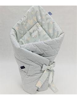 ROŻEK niemowlęcy 75x75 cm Malutkie Króliczki z Velvet szary pikowane korony