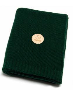 Bawełniany kocyk butelkowa zieleń 100% bawełny