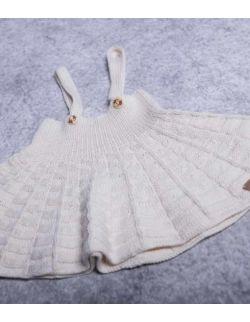 Kitty wełniana kremowa sukienka ogrodniczka dla dziewczynki handmade
