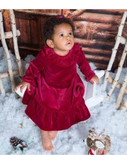 By royal baby bordowa aksamitna sukienka dla dziewczynki Lily