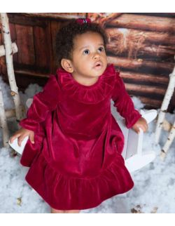By royal baby bordowa elegancka welurowa sukienka dla dziewczynki Lily