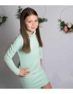 by royal baby elegancka miętowa sukienka z golfem dla dziewczynki