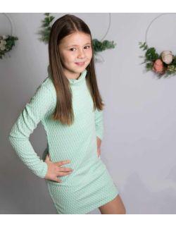 Unikatowa elegancka miętowa sukienka z golfem dla dziewczynki
