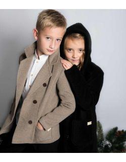 Luksusowy czarny płaszczyk dla dziewczynki z kapturem alpaka