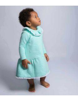 Pola delikatna wizytowa miętowa sukienka dla dziewczynki z falbanką
