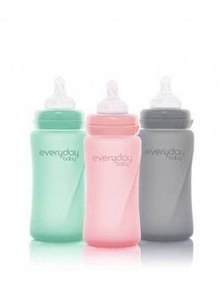 Szklana butelka ze smoczkiem M, 240 ml, Everyday Baby, różne kolory