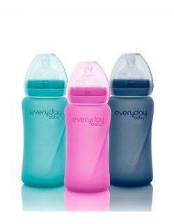 Szklana butelka ze smoczkiem M reagująca na temperaturę, 240 ml, Everyday Baby, różne kolory
