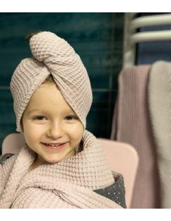 Turban na włosy bawełna wafelkowa dla dzieci