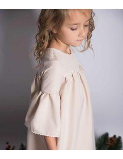 By Royal Baby wizytowa elegancka kremowa sukienka z koronką dla dziewczynki Classy Girl