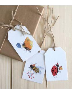 Zestaw 9 zawieszek do prezentów owady