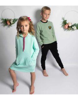 by royal baby sportowa miętowa sukienka z kapturem dla dziewczynki Sporty Girl