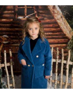 Stylowy granatowy elegancki płaszczyk dla dziewczynki alpaka