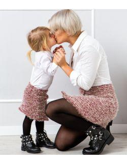 Bordowe Świąteczne spódniczki zestaw Mama i Córka