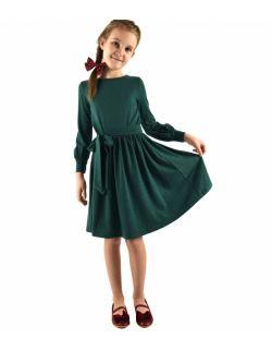 urokliwa sukienka dziewczęca z kokardą w pasie - zielona
