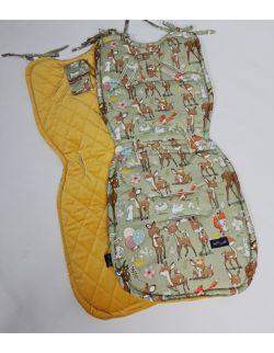 Wkładka do wózka Leśne Zwierzątka z velvet musztardowy pikowany caro