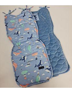 Wkładka do wózka Delfiny z Pandami z velvet jeans pikowany bączki